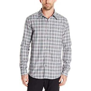 Merrell medium Aspect gray long sleeve plaid shirt